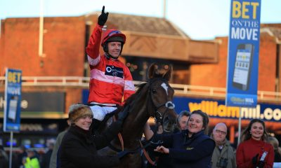 Silviniaco Conti riden by Noel Fehily celebrates winning The William Hill King George VI Steeple Chase