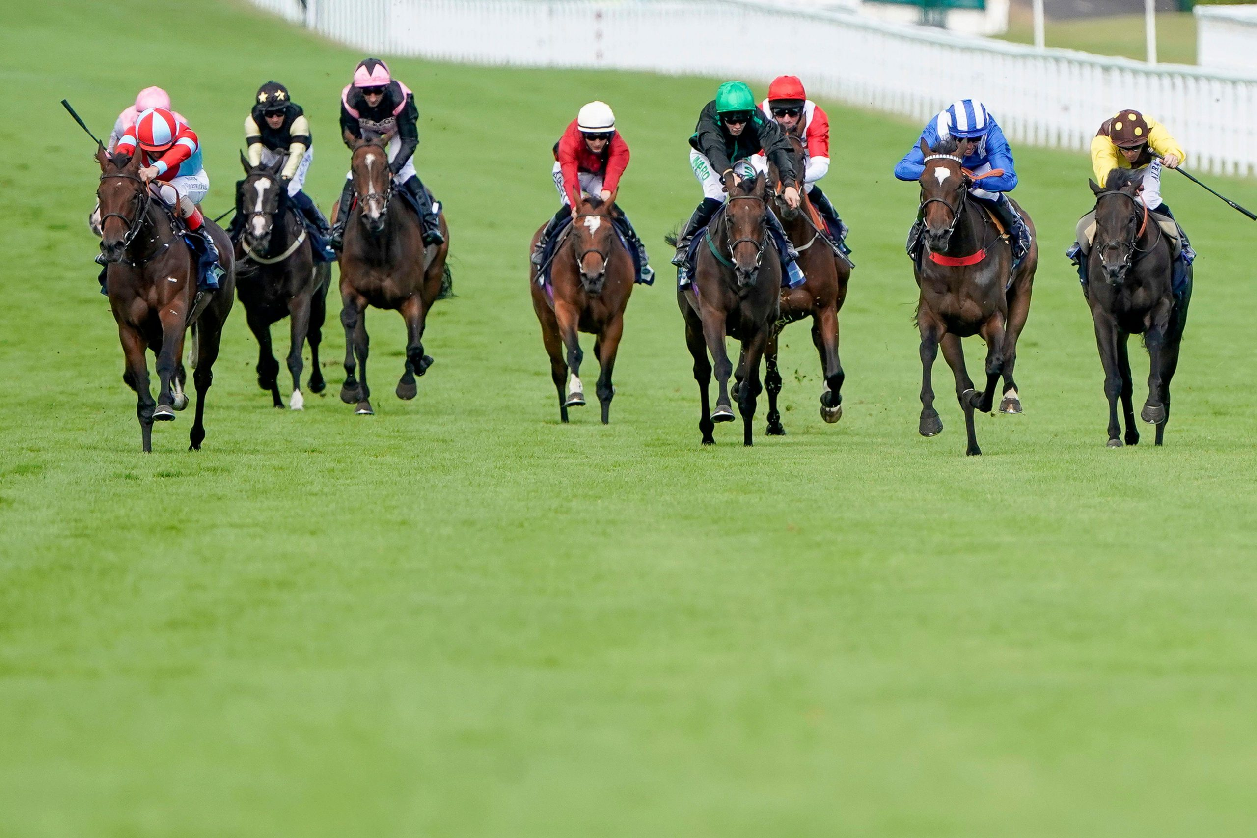 2C930JX Believe In Love ridden by Andrea Atzeni (left) goes on to win The British European Breeders Fund EBF FilliesO Handicap during day one of the Goodwood Festival at Goodwood Racecourse, Chichester.