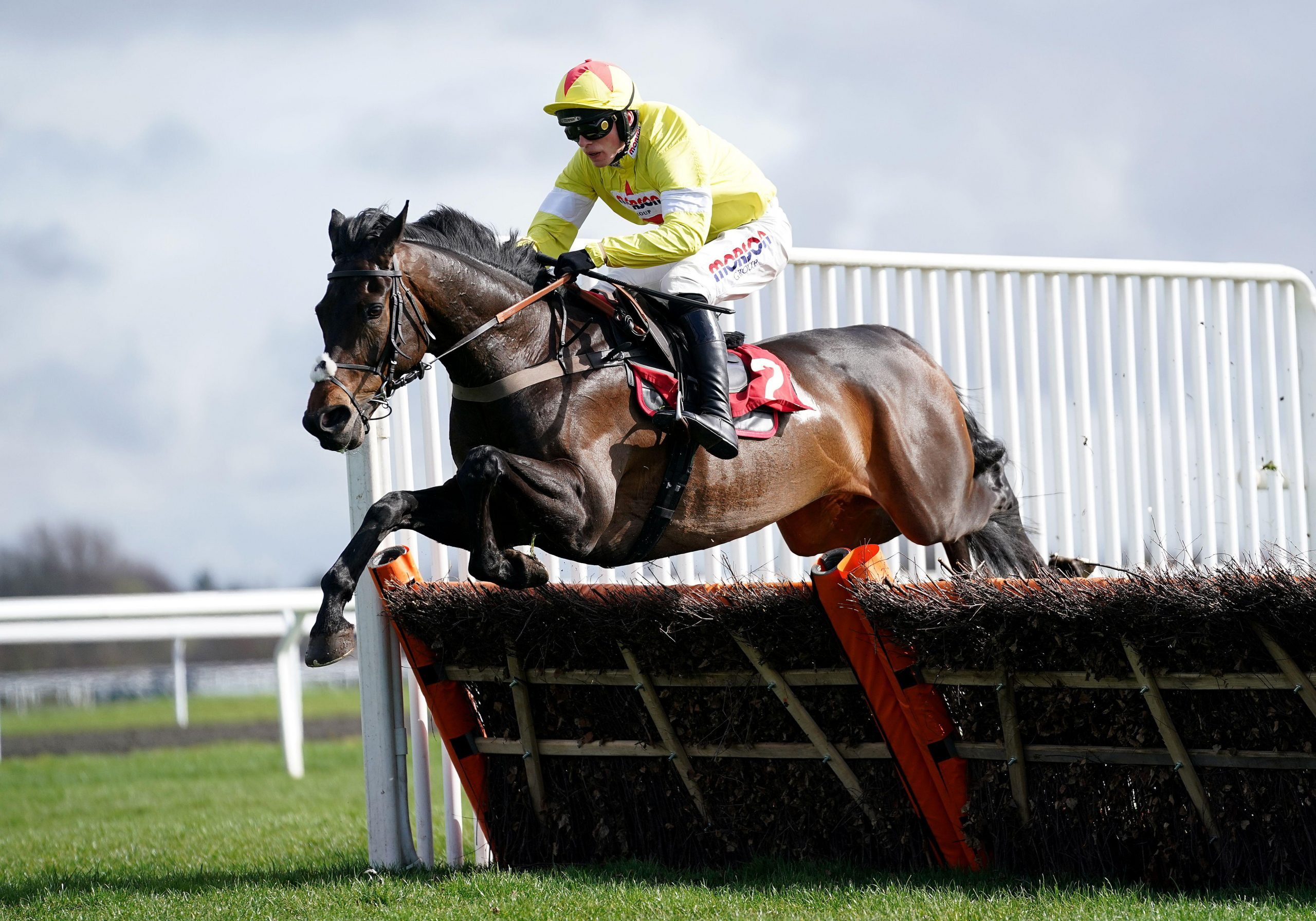 Fidelio Vallis ridden by Harry Cobden on the way to winning the Paddy Power From The Horse's Mouth Podcast Novices' Hurdle at Kempton Park Racecourse, London.