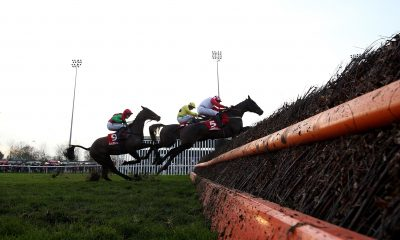 "Just A Sting ridden by jockey Sean Bowen (centre) beats Quarenta and goes on to win the Ladbrokes ""Where The Nation Plays"" Handicap Chase during day two of the Winter Festival at Kempton Park Racecourse."