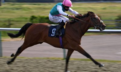 Ransom ridden by Ryan Moore wins the Betway Maiden Stakes at Lingfield Racecourse.