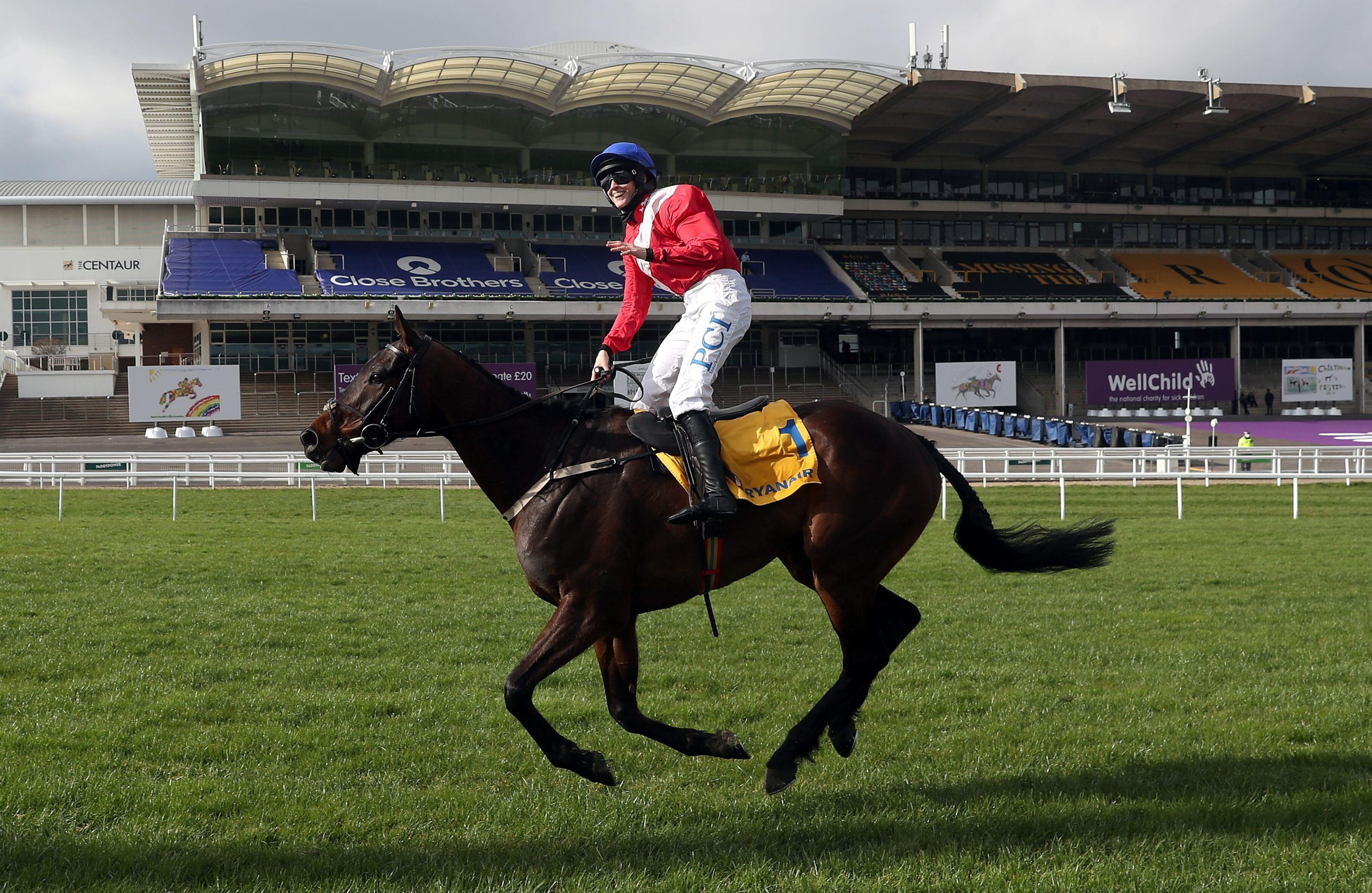 2F3YP2G Jockey Rachael Blackmore celebrates after winning the Ryanair Chase on Allaho during day three of the Cheltenham Festival at Cheltenham Racecourse. Picture date: Thursday March 18, 2021.